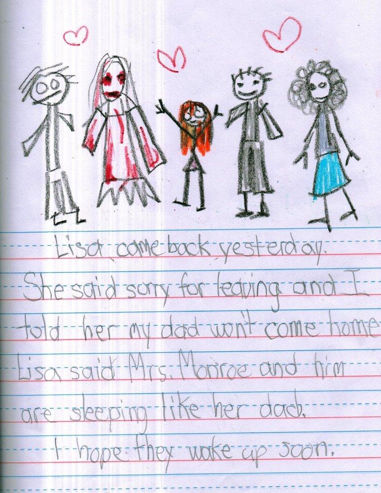 Lisa ieri è tornata. Ha detto che le dispiace per essere andata via e io le ho detto che papà non vuole più tornare a casa. Lisa ha detto che lui e la signora Monroe dormono come il suo papà. Io spero che si risveglino presto.