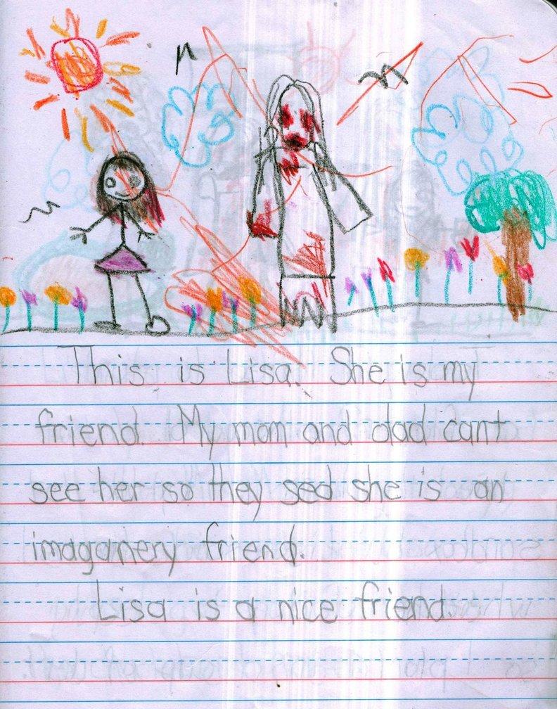 Questa è Lisa. È mia amica. Mamma e papà non possono vederla così dicono che è solo un'amica immaginaria. Lisa è davvero una buona amica.