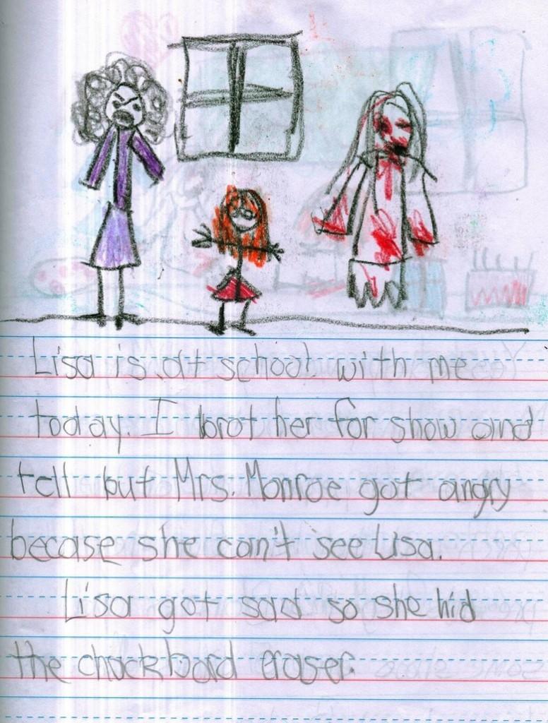 Lisa oggi è venuta con me a scuola. L'ho portata per mostrarla alla signora Monroe che si è arrabbiata perché non riusciva a vedere Lisa. Lisa è diventata triste così ha nascosto il cancellino.