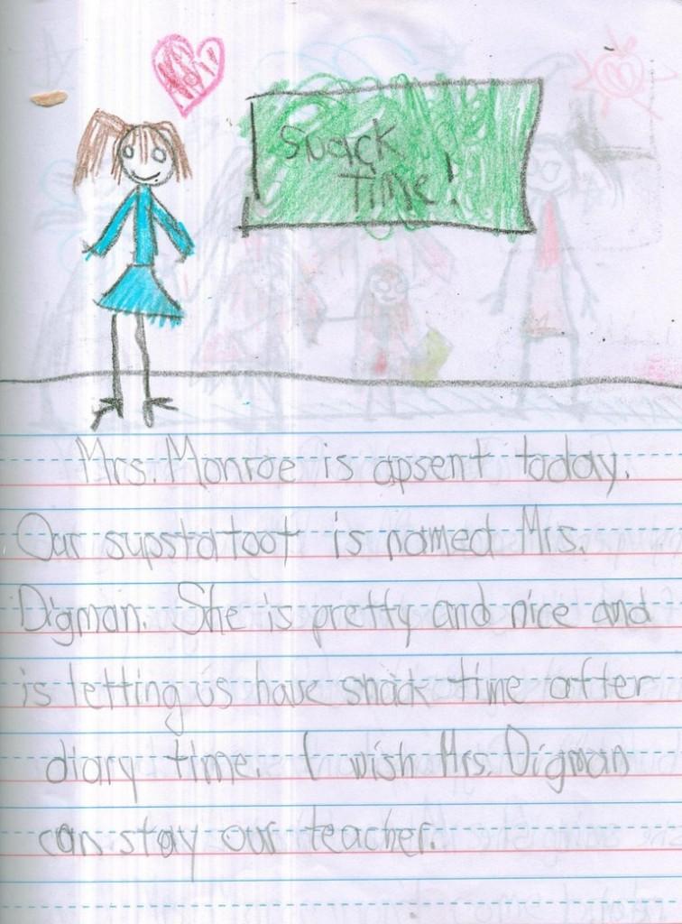 La signora Monroe oggi è assente. La sostituta si chiama signora Digman. Lei è carina e dopo l'orario del diario ci ha lasciato mangiare uno snack. Vorrei che la signora Digman fosse la nostra maestra.