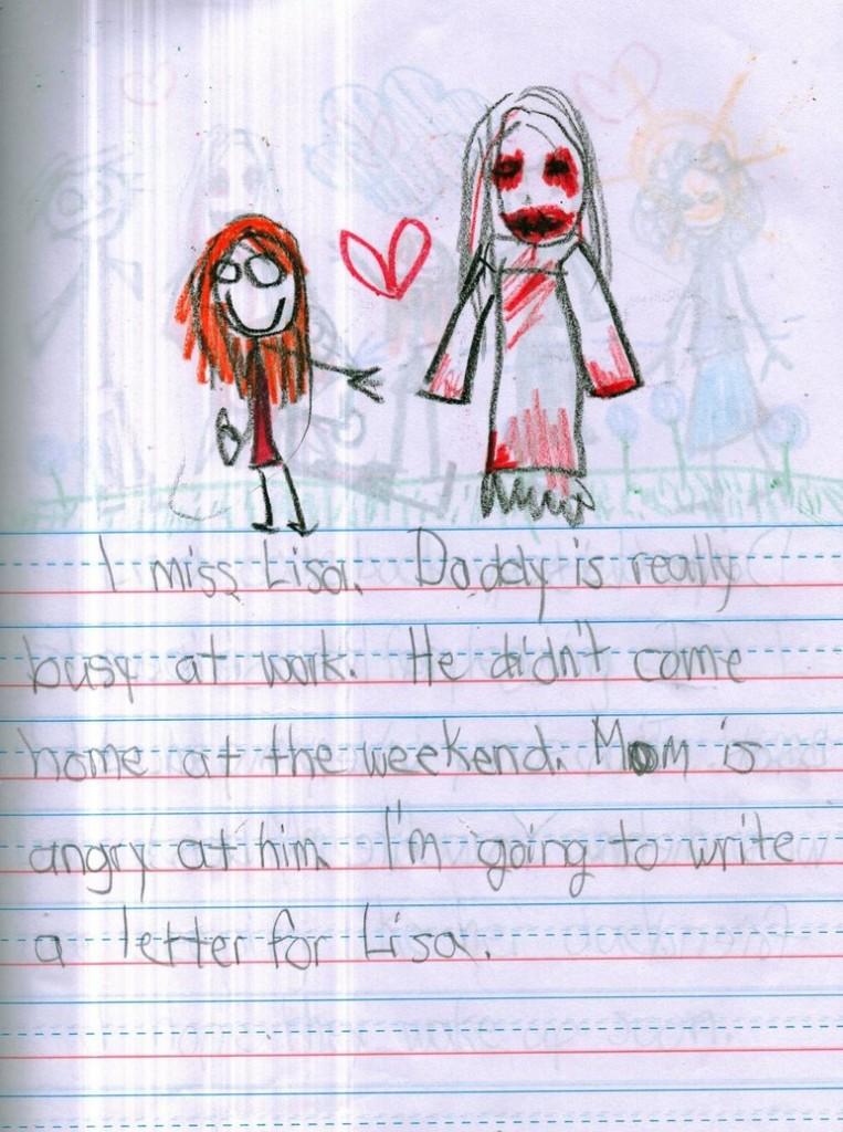 Mi manca Lisa. Papino è sempre al lavoro. Non è tornato neanche nel fine settimana. Mamma è arrabbiata con lui. Sto scrivendo una lettera a Lisa.