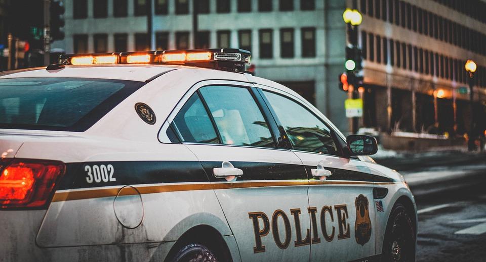 Auto Della Polizia Polizia Luci Città Urbano Miranda Warning
