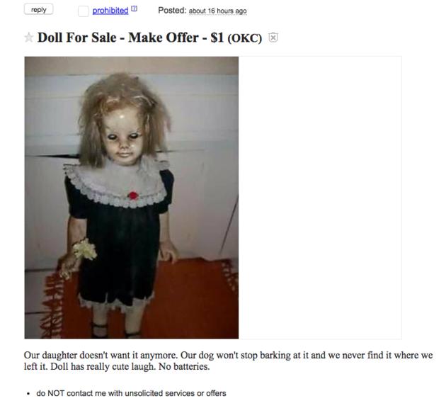 Annuncio bambola posseduta